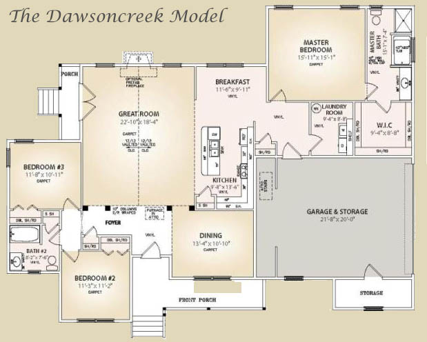 The dawsoncreek model floorplan for Trinity house plans